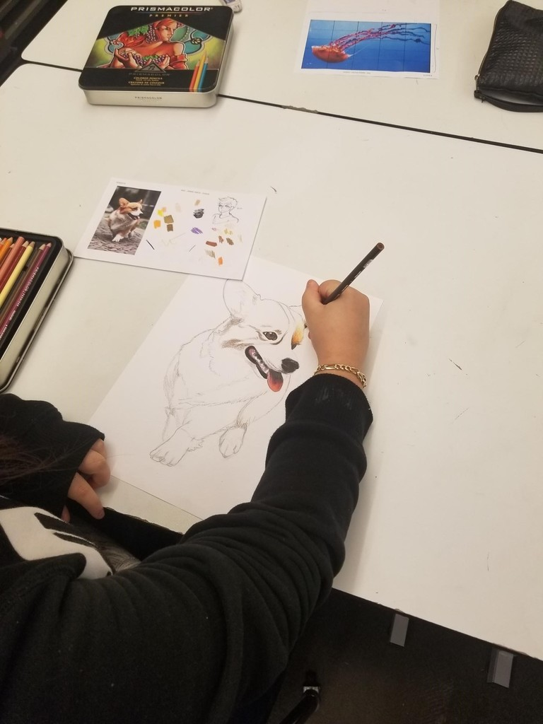 Art student working on her project