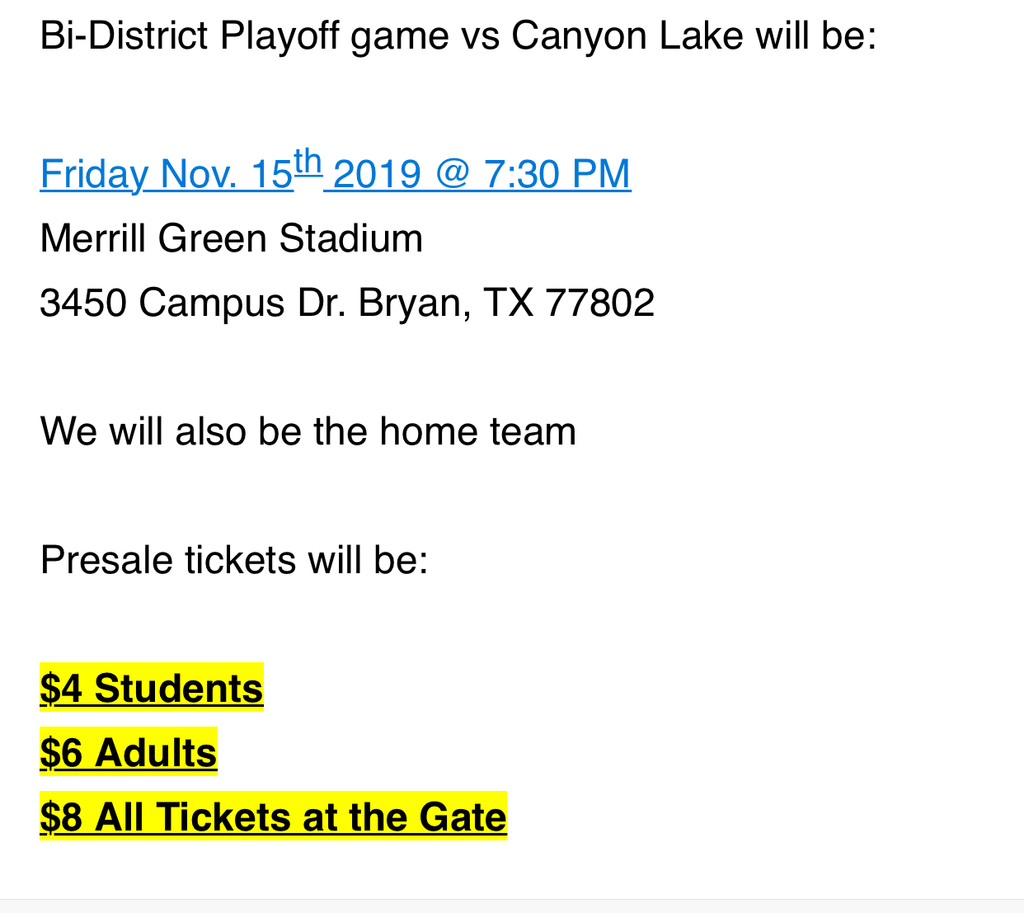 Playoff information